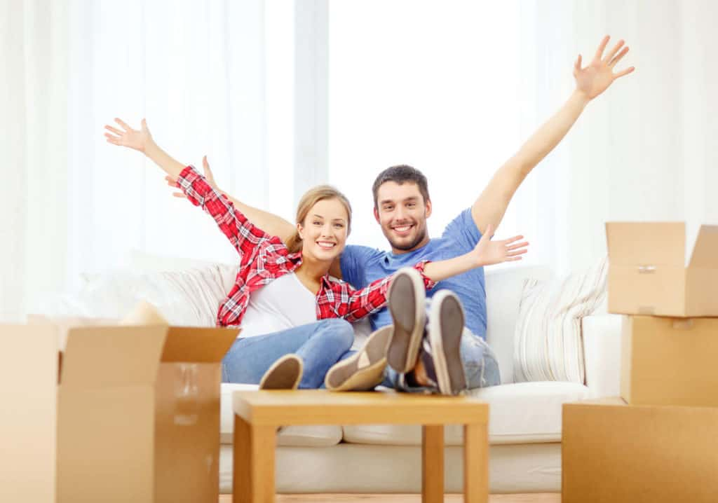 Cheerful couples are happy for moving home