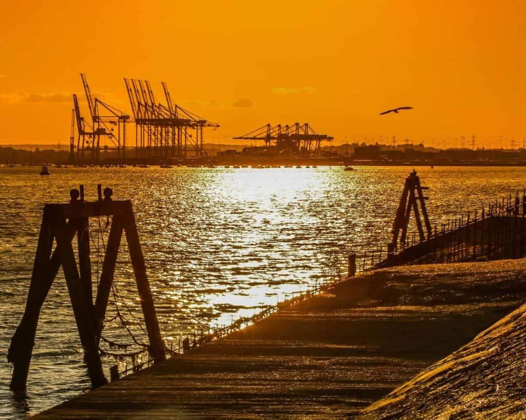 Southampton Removals, Southampton docks at sunset