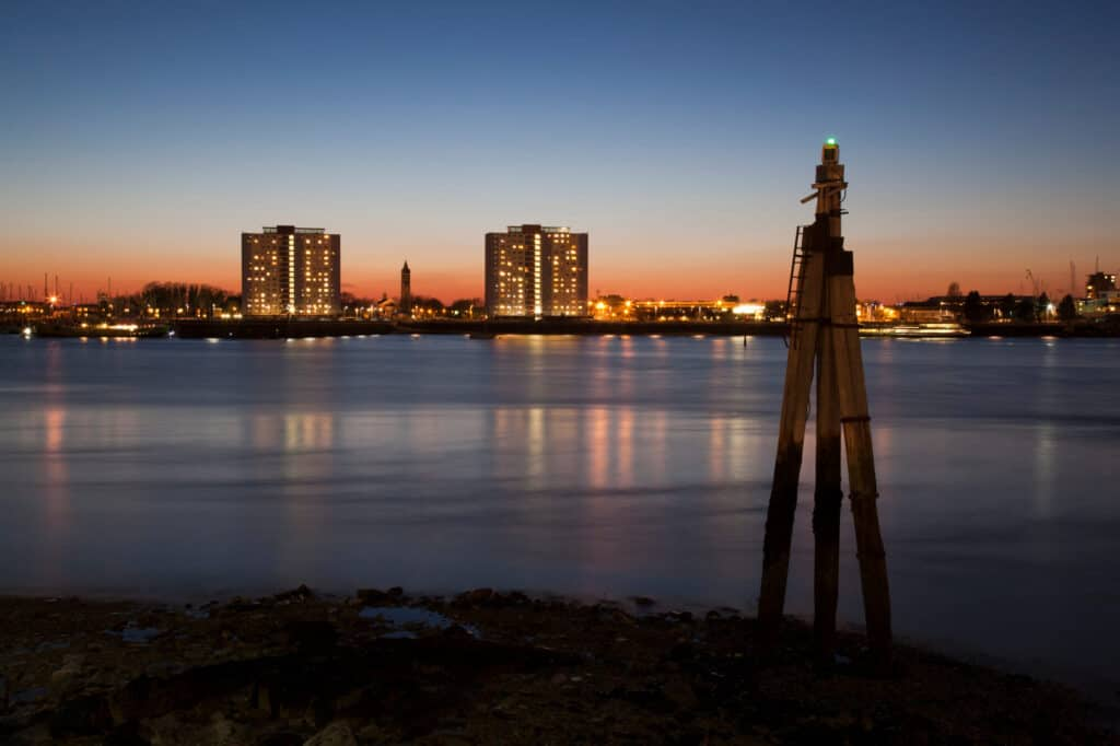 Portsmouth Harbour view at night.