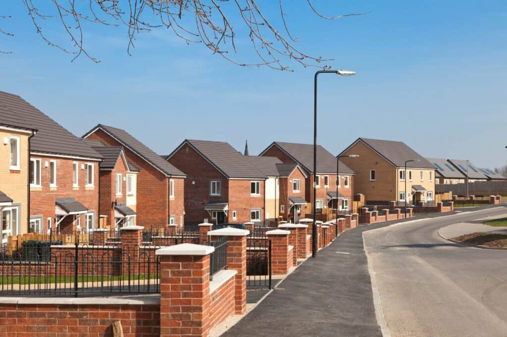 A row of new built properties in the UK