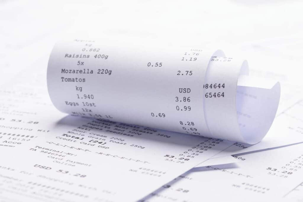 Receipt With Costs