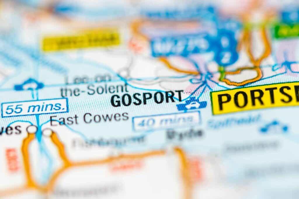 Gosport on map of UK