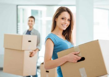 Young couples are packing for moving